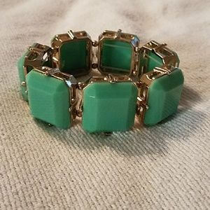 Jewelry - Teal and gold stretch bracelet